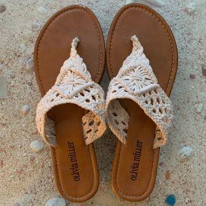 Olivia Miller Crochet T Strap Sandals